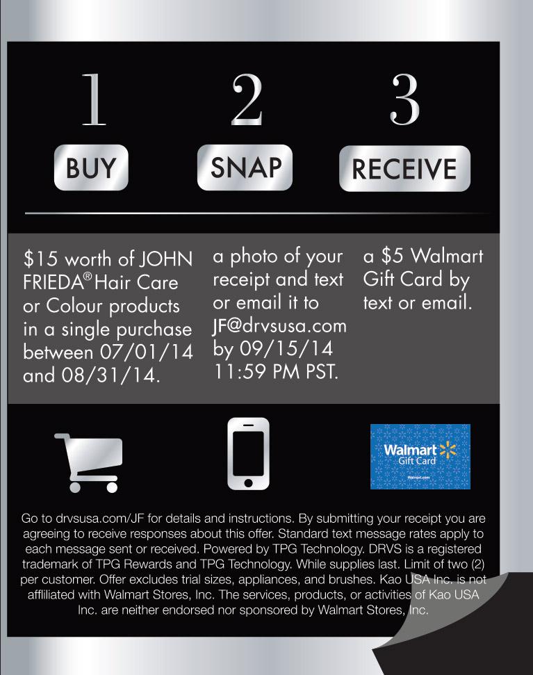 John Frieda Walmart Gift Card Reward Tpg Rewards